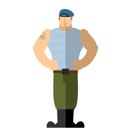 military beret: Russian soldiers Military man in t-shirt and blue beret.