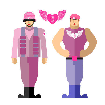 pink dress: Army soldiers love Military in a pink dress with makeup.  Illustration