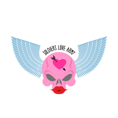 large skull: Pink skull with large red lips and blue wings.  Illustration