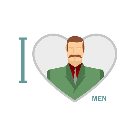 I love men Male and symbol of heart.
