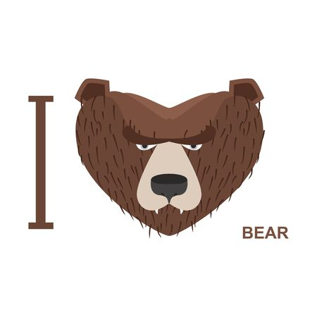 head i: I love bear Symbol heart bear head.