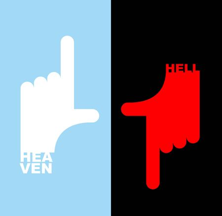 heaven: Hell and heaven Direction signs.