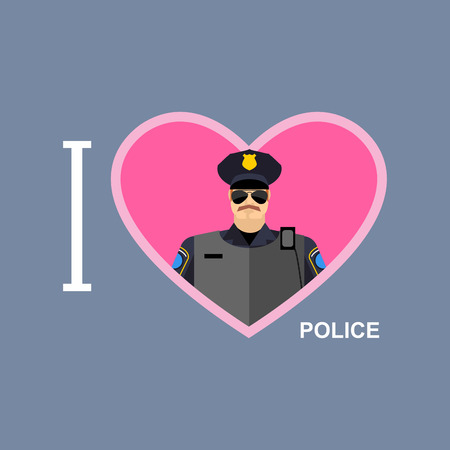 edit valentine: I love police Policeman and a symbol of heart.
