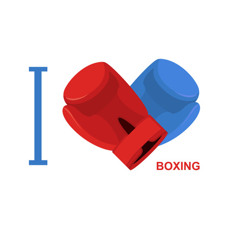 kickboxing: I love boxing Symbol of heart of boxing gloves.