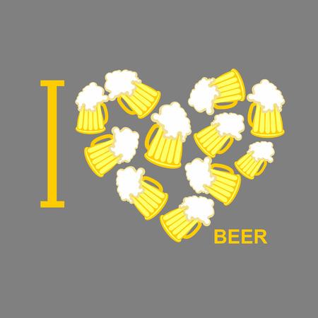 I love beer Symbol heart of steins of beer.  Illustration