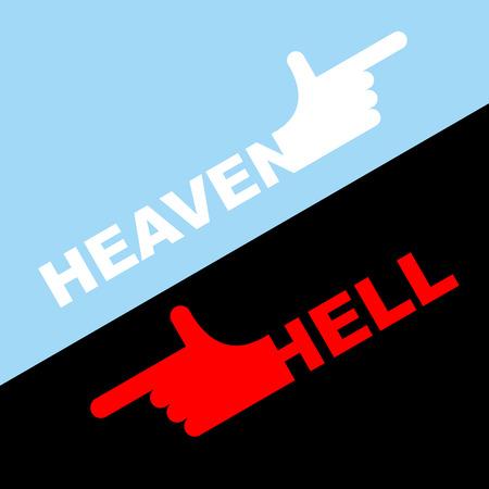 Dirección del infierno y el cielo. Ilustración de vector