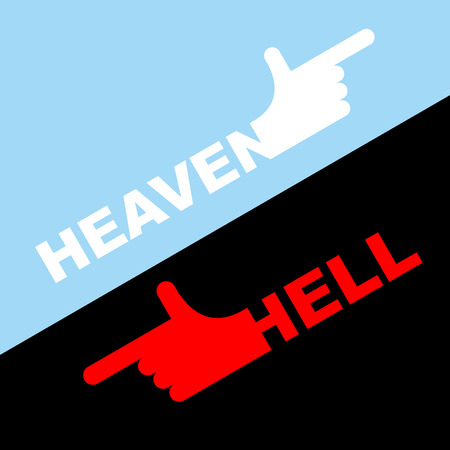 hell: Direction of hell and heaven.