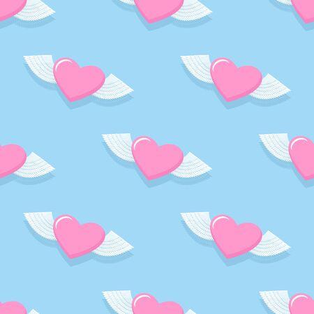 heart seamless pattern: Winged heart seamless pattern.