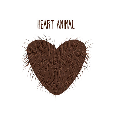 animal fur: Hairy Heart animal Sign heart shaggy Brown and fluffy.  Illustration