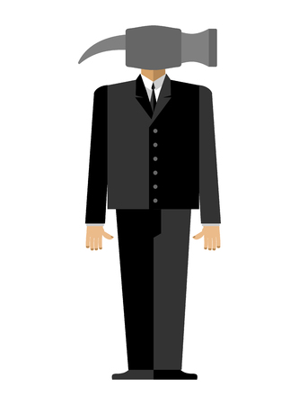 hammer head: Man hammer Businessman in suit instead head a sledgehammer.