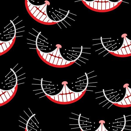チェシャ猫の笑顔のシームレスなパターン。