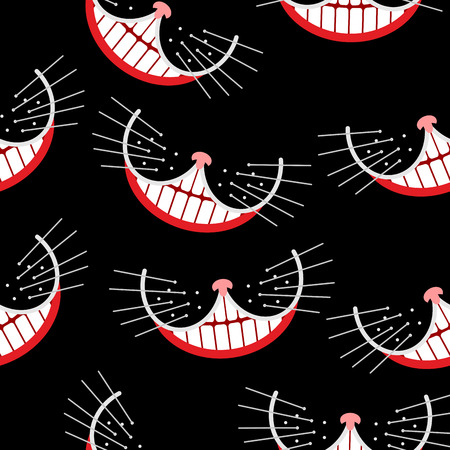 Cheshire cat Smile  seamless pattern.