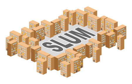 Slum district. Building in form of letters. Ghetto Poor district on outskirts of city. Vector illustration.