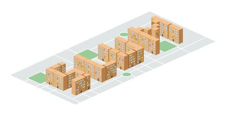 slum: Slum district Isometric city buildings. Illustration