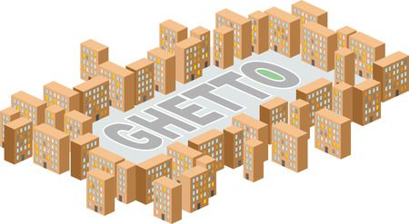 ghetto: Ghetto district Building in form of letters.