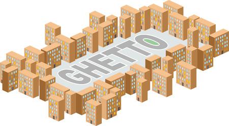 ghetto: Ghetto quartiere Costruire in forma di lettere. Vettoriali