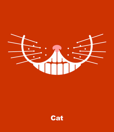 Cat smile on a red background.  Illustration
