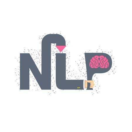Hand houden van een brief met de hersenen. Stock Illustratie