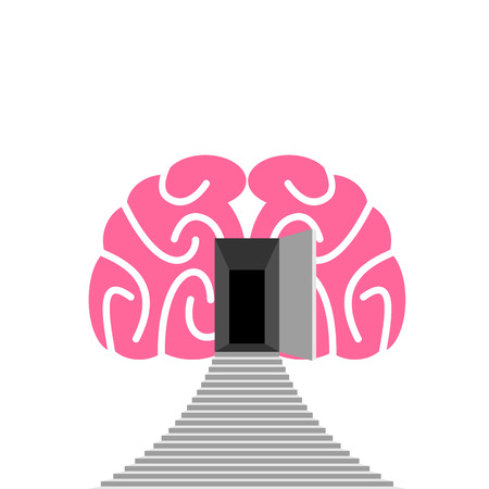 open minded: Open door and step of  human brain.