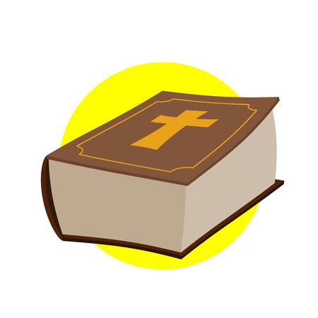 クロスと厚い古い本。
