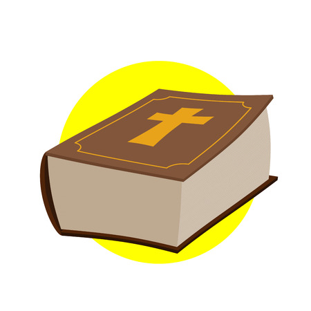 biblia: Grueso libro viejo con una cruz.