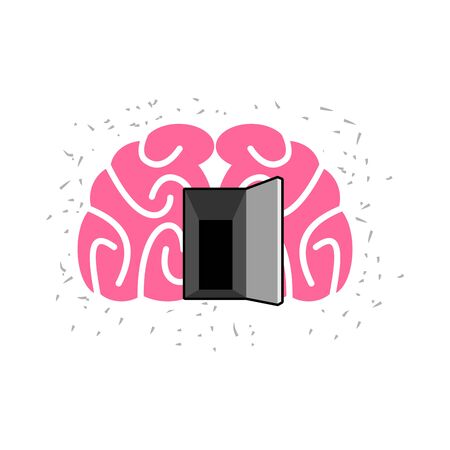 open minded: Brain with door open.