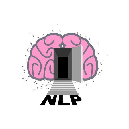 linguistics: Brain with door open.  Illustration