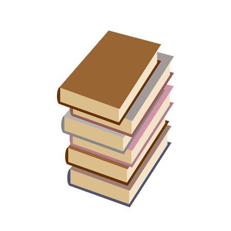 stack of books: Stack  books on white background.  Illustration