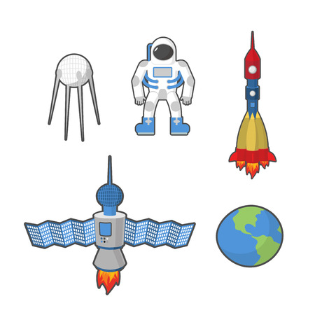 earth from space: Astronaut and Earth space icon set.  Illustration