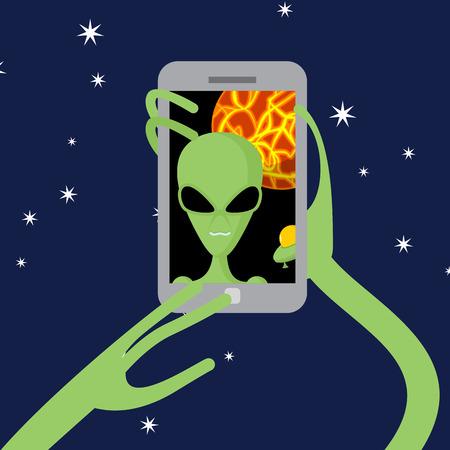 alien cool: Selfie space Alien shoots himself on phone against backdrop of  planet.