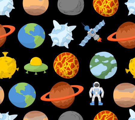 Planets of solar system seamless pattern.