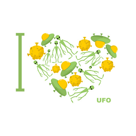 humanoid: I love UFO Symbol heart of humanoid, alien and space saucer.  Illustration