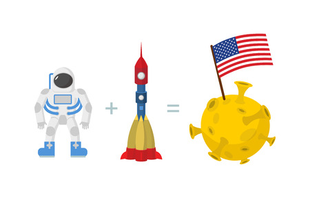 astronaut: First Astronaut on moon.  Illustration