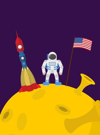 moonwalk: Astronaut on moon Cosmic man with the flag of America and rocket space ship. Illustration
