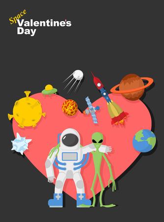 Astronaut and alien friends.