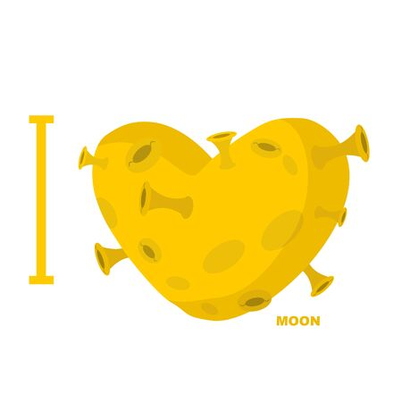 love of planet: I love moon Heart symbol from yellow planet with craters.