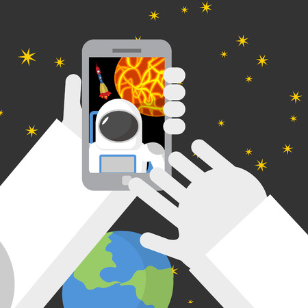 travel phone: Selfie in space Astronaut photographed myself on phone against backdrop of a rocket
