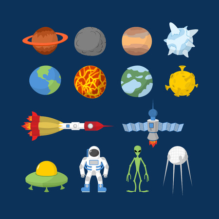 rocket ship: Space set of icons. Illustration