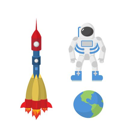 booster: Configurar el espacio: el astronauta, el planeta Tierra, cohete.