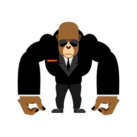 bodyguard: Security guard big gorilla black suit. Bodyguard animal. Vector illustration