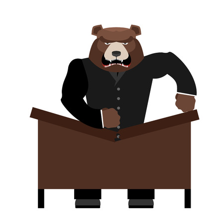 yells: Big scary bear boss breaks table. Aggressive chef yells. Office vector illustration
