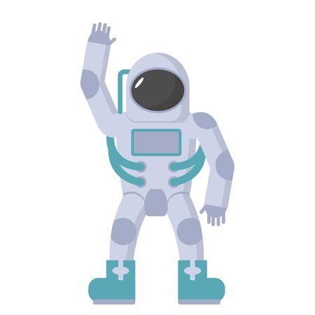 spacesuit: Astronaut in spacesuit waving hand. Vector illustration on a white background.