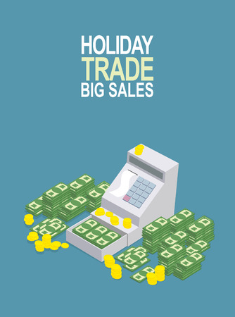 feast day: Feast day of trade. Open ticket office with a lot of money. Seller box to store cash. Vector illustration Illustration