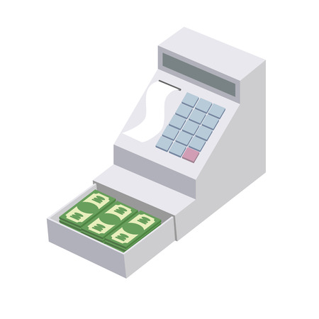 storing: Cashier. Open a cash register with a lot of dollars. Seller box for storing money. Vector illustration Illustration