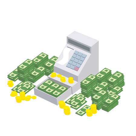 proceeds: Open Cash Register Machine with a lot of money. Seller box to store proceeds at store. Vector illustration