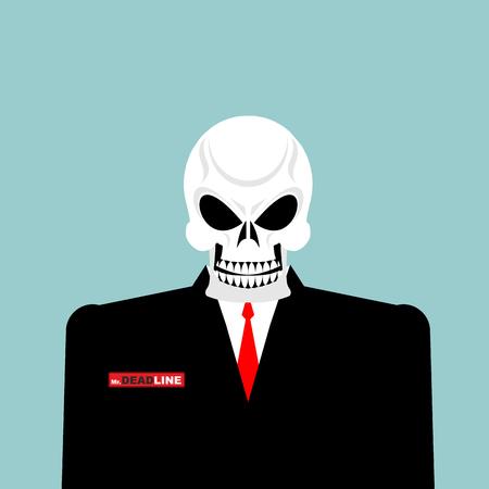 mr: Mr Deadline. Death of a businessman in a suit. Skeleton in an Office suit. Vector illustration.