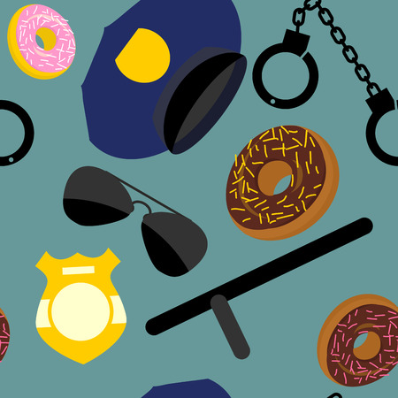 nightstick: Police set seamless pattern. Police uniforms and handcuffs. Badge and nightstick. Vector background.