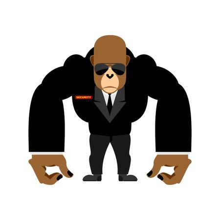 Security guard big gorilla black suit. Bodyguard animal. Vector illustration