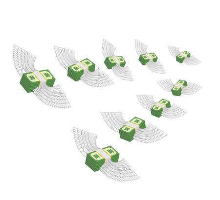 Flying winged money. Profit decreases. Loss of cash. Vector illustration