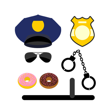security icon: Police set icon. Police uniforms and handcuffs. Badge and nightstick. Glasses and donuts. Vector illustration. Illustration